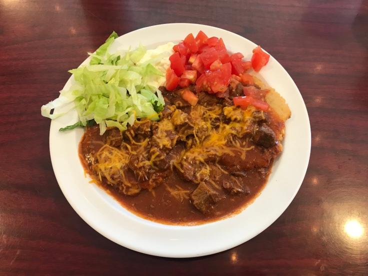 kokoji with red chili stew