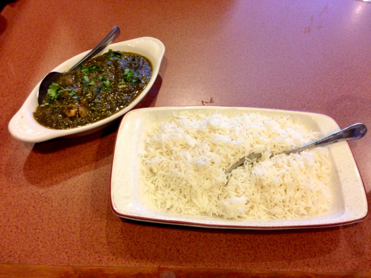palak murg with basmati rice
